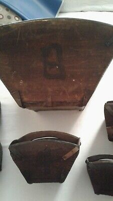 RARE GROUPING OF 6 Vintage primitive Chinese rice, grain baskets . Wood & metal