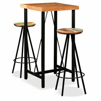 vidaXL Solid Sheesham and Reclaimed Wood Bar Set 3 Piece Dining Table Stools