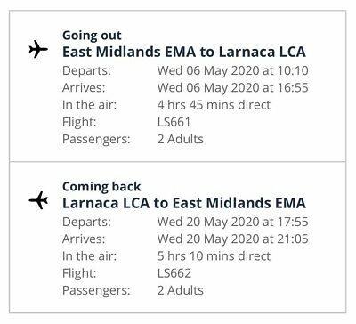 2 x Return Flights to Cyprus from East Midlands in May,Leg-room,Free Name Change