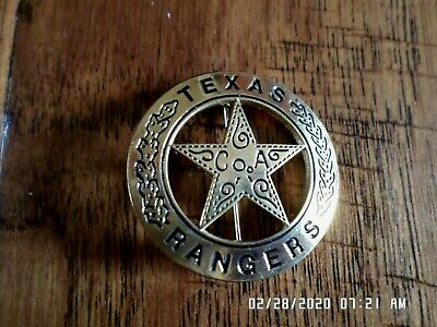 Texas Rangers Novelty Badge Old West Gold Star Pinback Miniature 1 5/8""