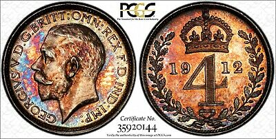 Great Britain George V Silver 1912 4 Pence PCGS PL64 PROOFLIKE TONING KM#814
