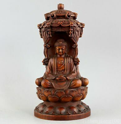 Collectable Antique Boxwood Hand-Carved 3 Face Buddha Auspicious Buddhism Statue