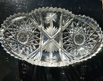 American brilliant cut IDEAL GLASS CO. FLORA Pattern OVAL BON BON DISH Candy