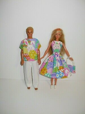 USA Handmade Barbie clothes. Cute matching Easter outfits 4 Barbie & Ken doll