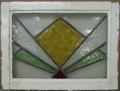 "OLD ENGLISH LEADED STAINED GLASS WINDOW Gorgeous Geometric Burst 22"" x 16.75"""