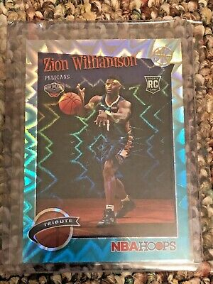 2019-20 NBA Hoops ZION WILLIAMSON Teal Explosion Tribute Rookie RC #296!