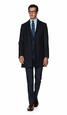 T.M.Lewin Mens Rufolo Slim Fit Overcoat in Navy Barberis Wool