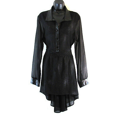 Living Doll Womens Dress Size XL Black Sheer Faux Leather Trim Celestial Glitter