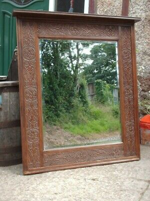 Large Antique Victorian Oak Rustic  Wall / Mantle Mirror