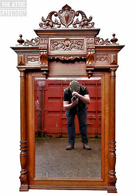 Exceptional Antique Victorian French Carved Mahogany Wall Pier Overmantel Mirror