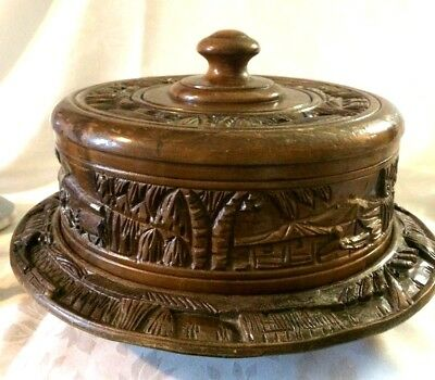 Vintage Carved Wood Lazy Susan & Cover,Tropical Tiki Bar Style Serving Tray Cake