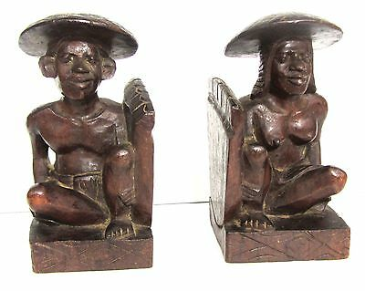 Wood Bookends MCM Carved Polynesian vintage native big feet Pacific Island