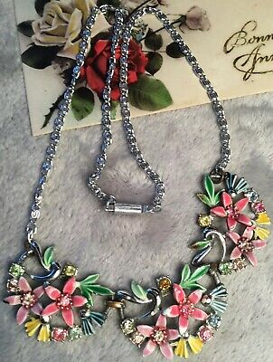 Art Deco 30s multi colour enamel Rhinestone Flower Silver Metal bib Necklace
