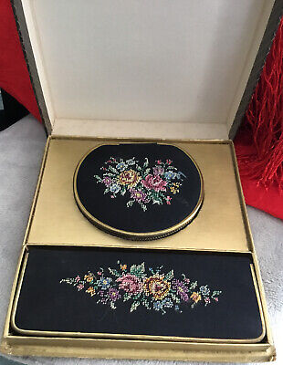 1940s black floral embroidered collectable vintage vanity Compact Comb boxed Set