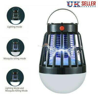 Mosquito Zapper LED Lamp Camping Tent Outdoor Insect Bug Flying Killer Light UK