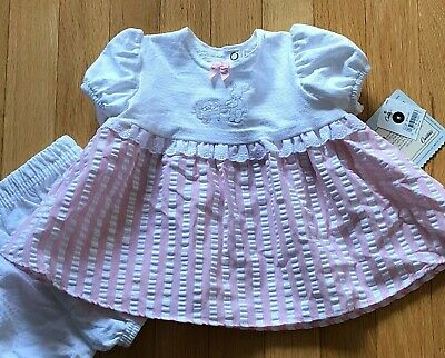 Carter/'s JOY Cotton Baby Girls Pink Bunny Dress and Diaper Cover Set NWT