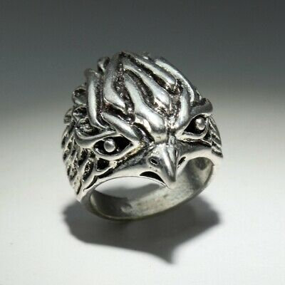Collectable China Old Miao Silver Hand-Carved Delicate Eagle Head Unique Ring