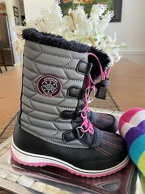 Totes Girl's Ankle Boots Size Us 1 Gray and Pink Adventure Gear Lace Up Fleece
