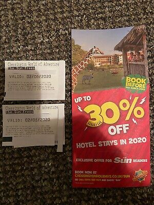 2 X Chessington Paper Tickets For Tuesday 2nd June 2020 02/06/20