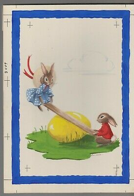 "HAPPY EASTER Cute Bunny Rabbits on Egg See-Saw 8x11"" Greeting Card Art #E2409"