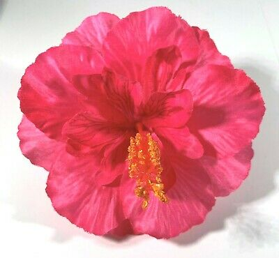 """5/"""" Bright Red Double Hibiscus Silk Flower Hair Clip Pinup Luau Tropical"""