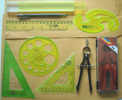 Student Classroom Drawing Drafting Compasses with 3Pcs Pencil Leads Fr MMM