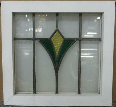"OLD ENGLISH LEADED STAINED GLASS WINDOW Stunning Simple Geometric 16.75"" x 16"""