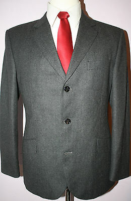 Burberry London Gray Wool Three Button Side Vented Suit 39 Short 34 28 Flat