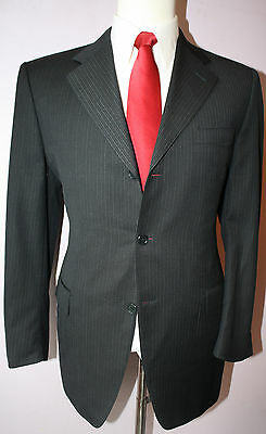 Canali Navy Blue Gray Striped Super 120s Wool Three Button Suit 43 Regular 37 30