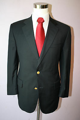 Brooks Brothers Brooksease Navy Blue Two Gold Button Wool Wool Blazer Size 42 L