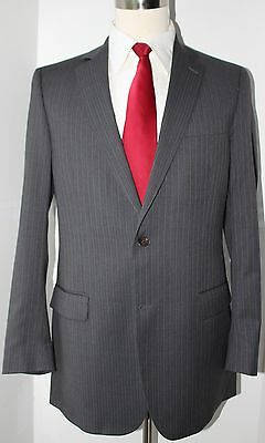 Brooks Brothers Fitzgerald Two Button Gray Striped Wool Suit 41 Long 36 30 Flat