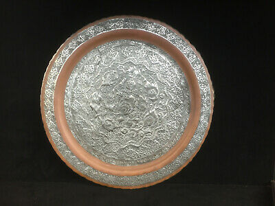 Large Antique Vintage Middle Eastern Persian Silvered Copper TRAY Hand Hammered