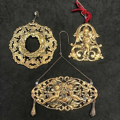 Vintage Victorian Style Angel Cherub Ornaments Ornate Set Of 3 Metal