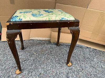 Vintage Wood stool with floral padded seat top lot CE290220J
