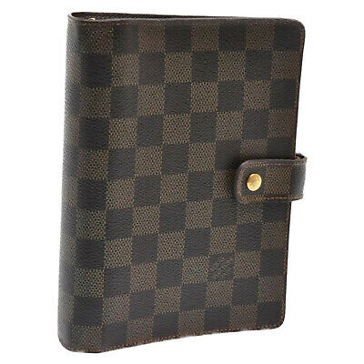 LOUIS VUITTON Damier Ebene Agenda MM Day Planner Cover R20701 LV Auth 5355