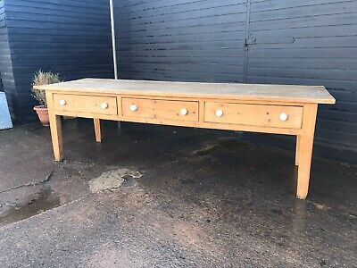 Large 9' Antique Prep / Kitchen Table With Drawers Under Sn-641b