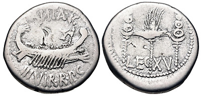 The Triumvirs. Mark Antony. Autumn 32-spring 31 BC. AR Denarius (17.5mm, 3.52 g,