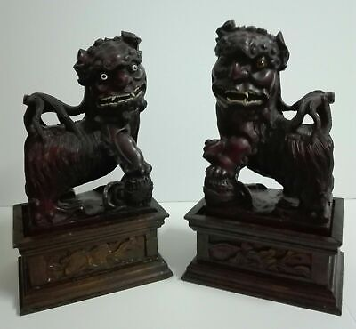 Antique Chinese 19Th Century Large Foo Dogs Pair Carved Wood Sculptures