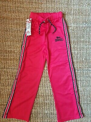 BNWT Pink Lonsdale Popper Trousers Tracksuit 7-8 Years