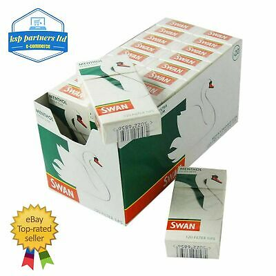 Swan MENTHOL X 10 Box extra slim Plain Filter Rolling Tips - 1200 TIPS