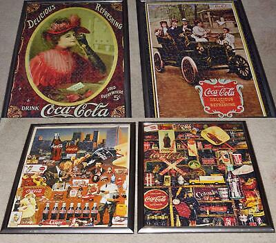 "LOT OF 4 Large COCA COLA Matching Framed Puzzles 25"" x 19"" ready to hang"