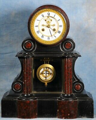 French Black & Rouge Marble Regulator Clock 19th Century Ellicott Pendulum