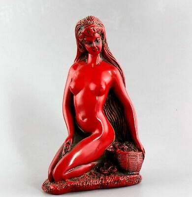 Collectable China Old Red Coral Hand-Carved Naked Belle Unique Delicate Statue