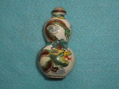 Unusual Enamel CHINESE DOUBLE GOURD SNUFF BOTTLE HAND PAINTED DRAGONS