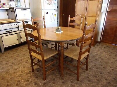Vtg Tell City Andover Maple Drop Leaf Dining Table + Leaf + 4 Ladder Chairs Set