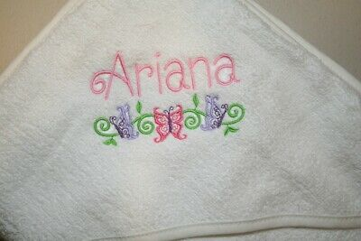 Personalized Monogrammed Hooded White Baby Terry Towel Girl or Boy