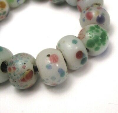 "15 Rare Stunning Old White ""Peking"" Speckled Eye Antique Chinese Glass Beads"