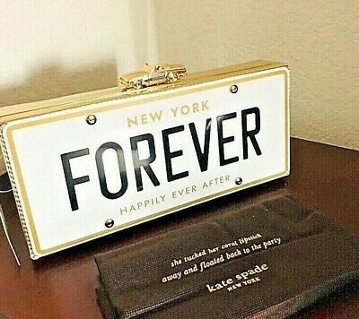 Kate Spade New York Wedding Belles License Plate Car Forever Clutch Sold Out Nwt