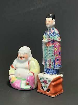 A Set of Two Antique Chinese Porcelain Figurines - Buddha & Scholar