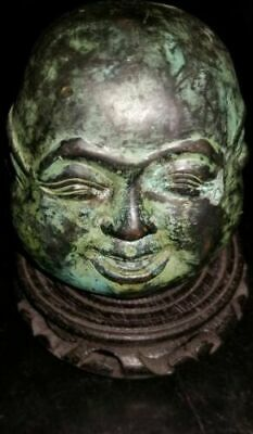 """Vintage 4"""" Bronze, 4 Faces of Buddha with Beautiful Patina, w 4 Character Mark"""